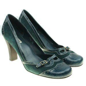 Alfani Forest Green Suede Retro Brogue Heels